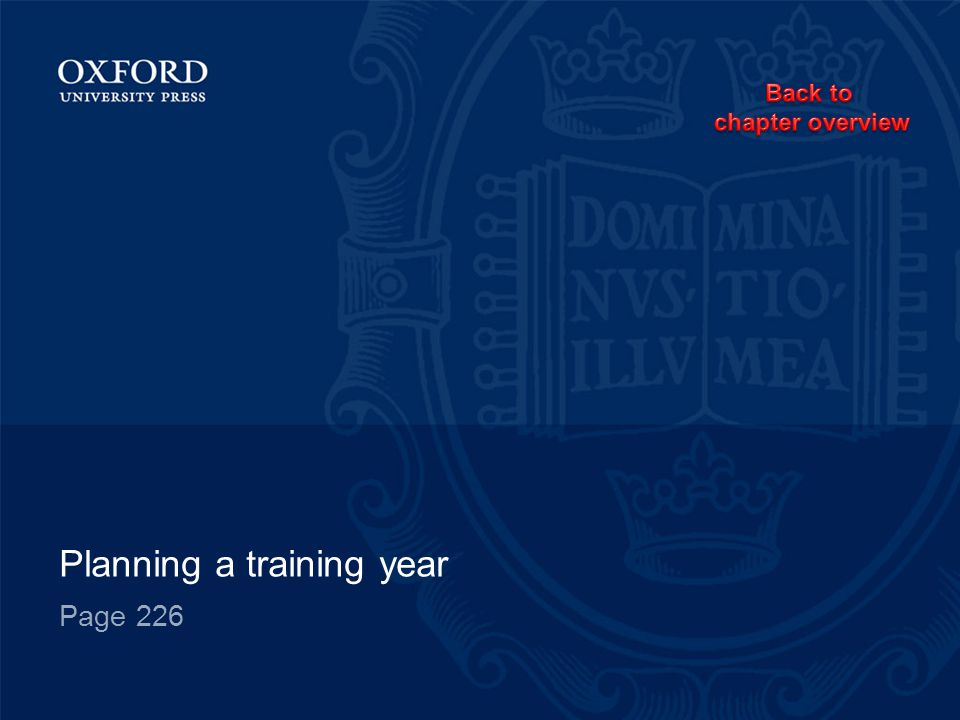 Planning a training year