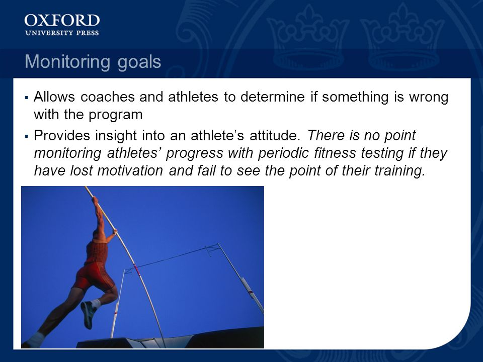 Monitoring goals Allows coaches and athletes to determine if something is wrong with the program.