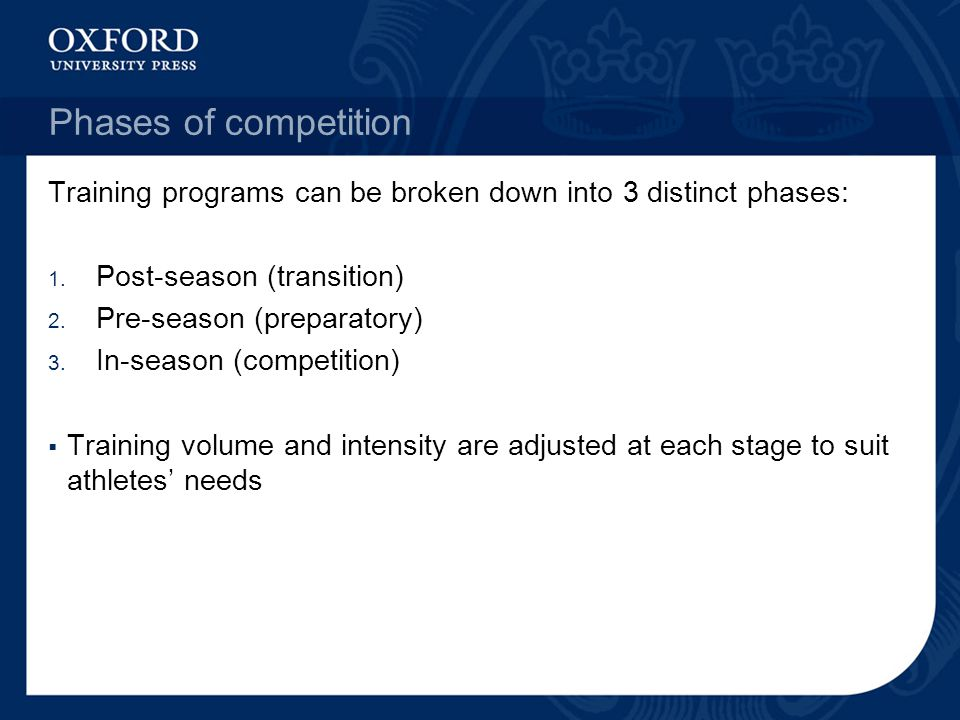 Phases of competition Training programs can be broken down into 3 distinct phases: Post-season (transition)