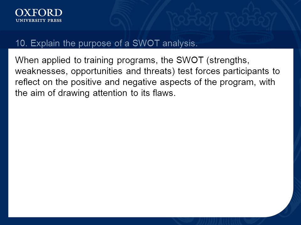 10. Explain the purpose of a SWOT analysis.