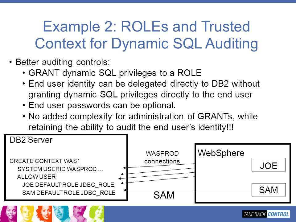 Example 2: ROLEs and Trusted Context for Dynamic SQL Auditing