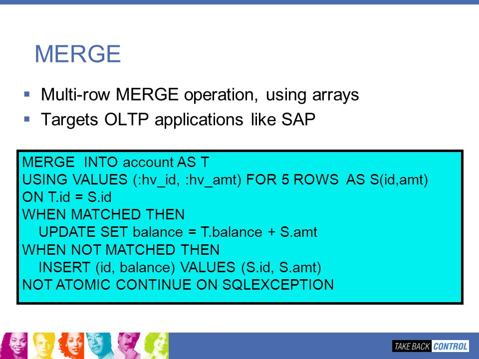 MERGE Multi-row MERGE operation, using arrays