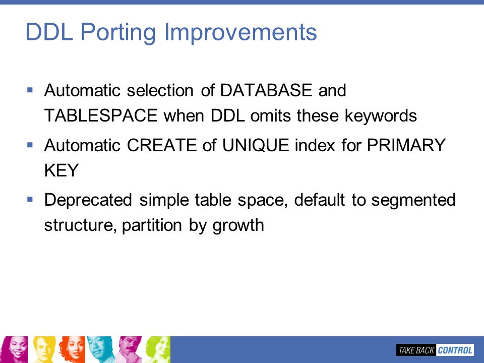 DDL Porting Improvements