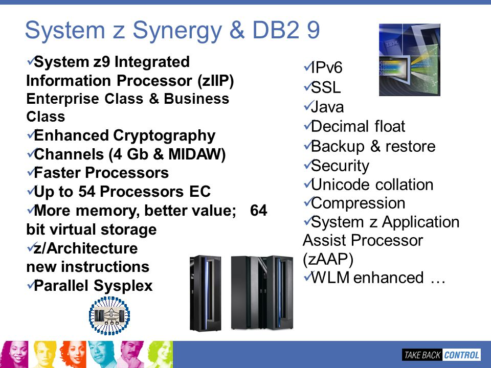 System z Synergy & DB2 9 IPv6 SSL Java Decimal float Backup & restore
