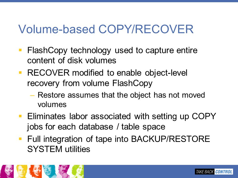 Volume-based COPY/RECOVER