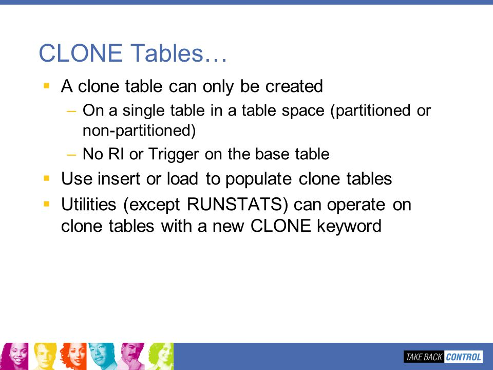 CLONE Tables… A clone table can only be created