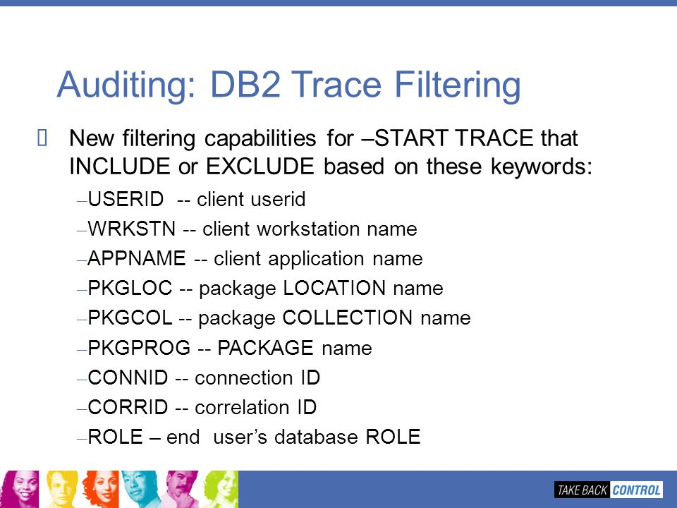 Auditing: DB2 Trace Filtering