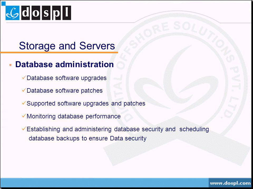 Storage and Servers Database administration Database software upgrades