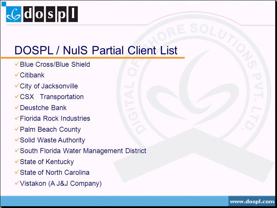 DOSPL / NuIS Partial Client List
