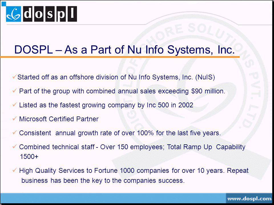 DOSPL – As a Part of Nu Info Systems, Inc.