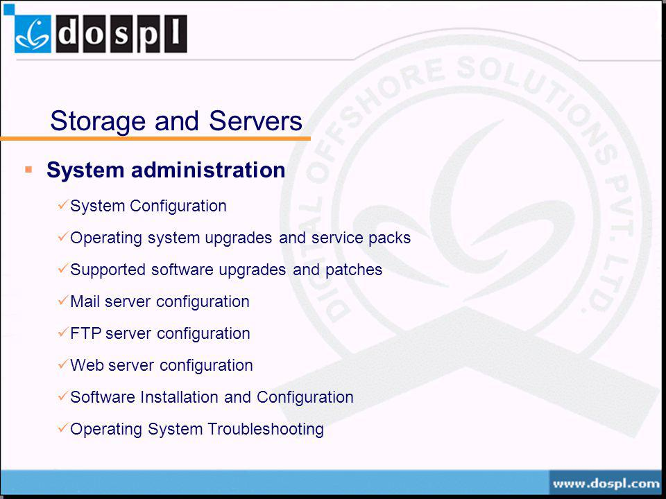 Storage and Servers System administration System Configuration