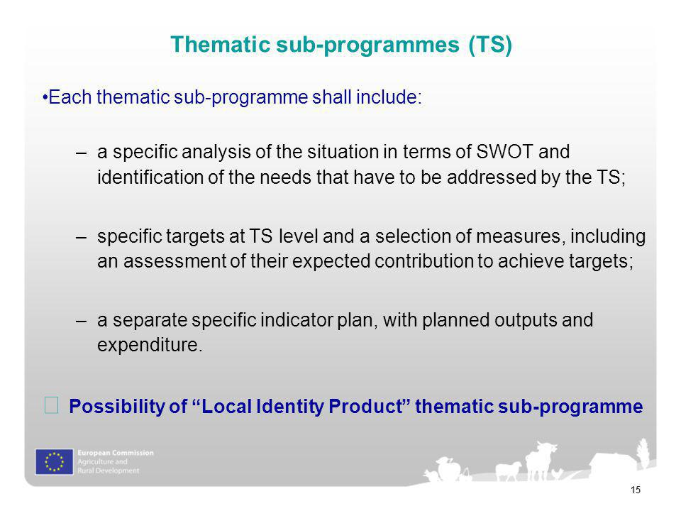 Thematic sub-programmes (TS)