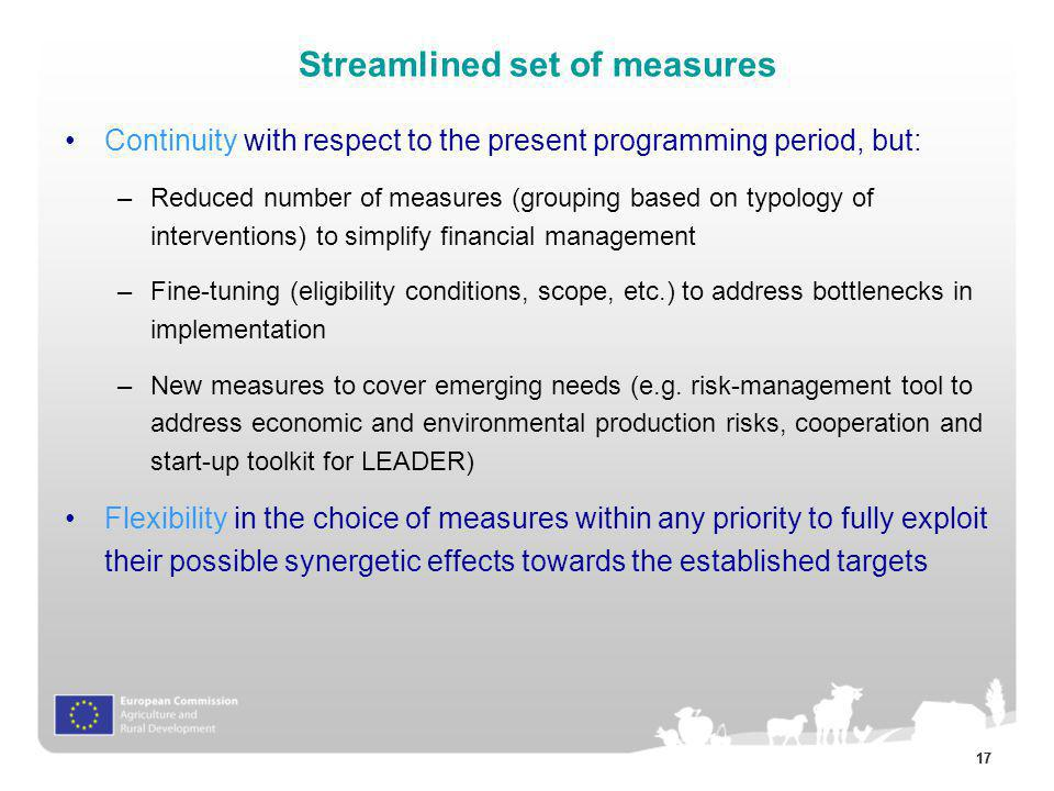 Streamlined set of measures