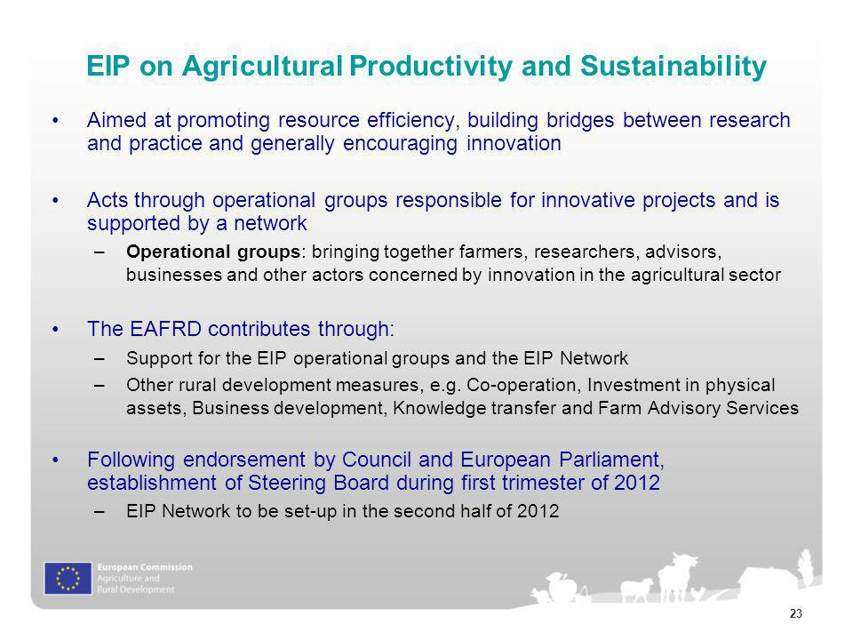 EIP on Agricultural Productivity and Sustainability