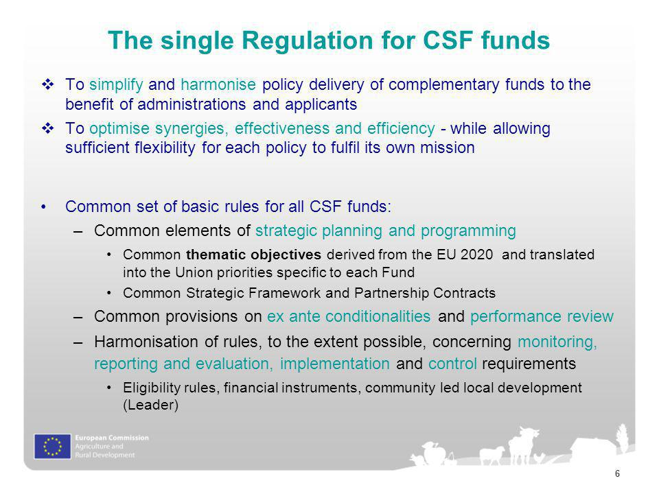 The single Regulation for CSF funds