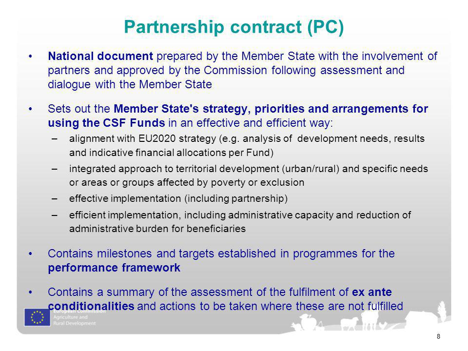 Partnership contract (PC)