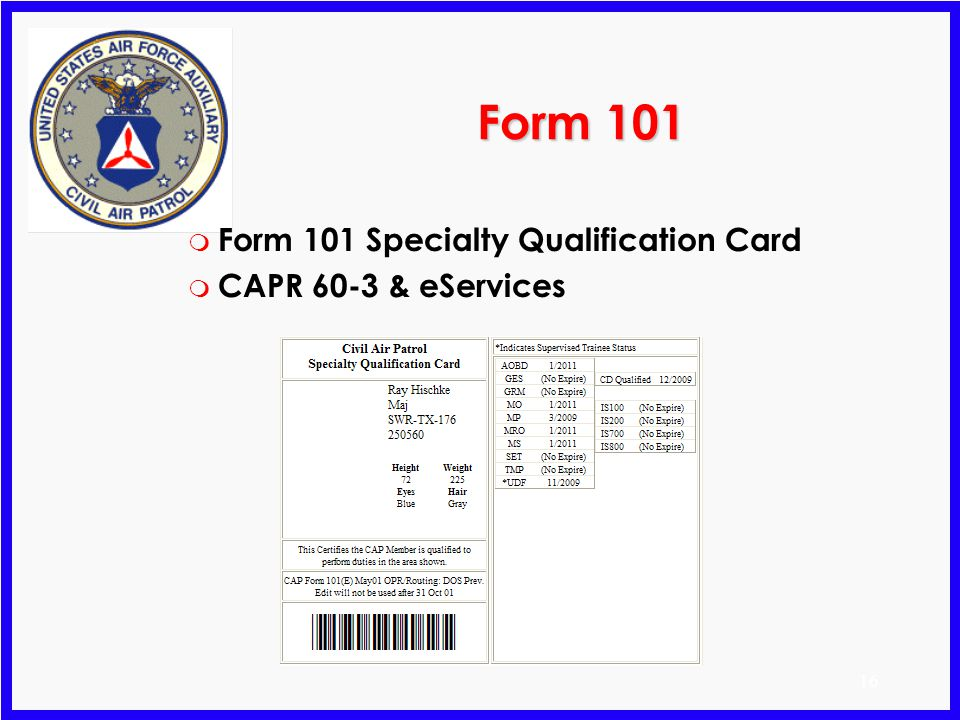 Form 101 Form 101 Specialty Qualification Card CAPR 60-3 & eServices