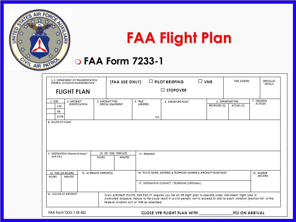 FAA Flight Plan FAA Form 7233-1 FLIGHT PLAN