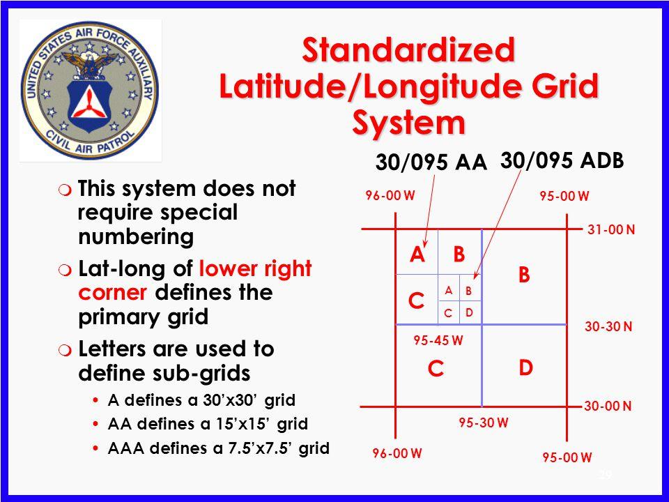 Standardized Latitude/Longitude Grid System