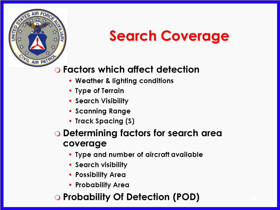 Search Coverage Factors which affect detection
