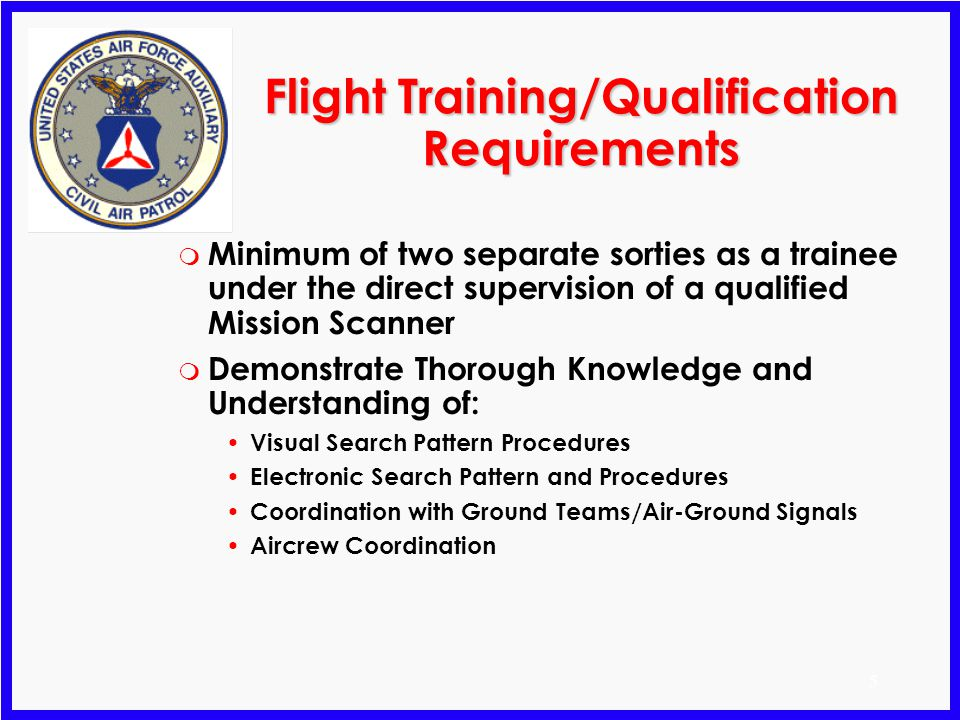 Flight Training/Qualification Requirements