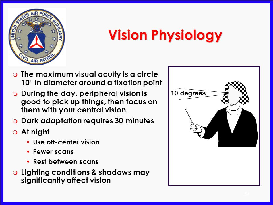 Vision Physiology The maximum visual acuity is a circle 10° in diameter around a fixation point.