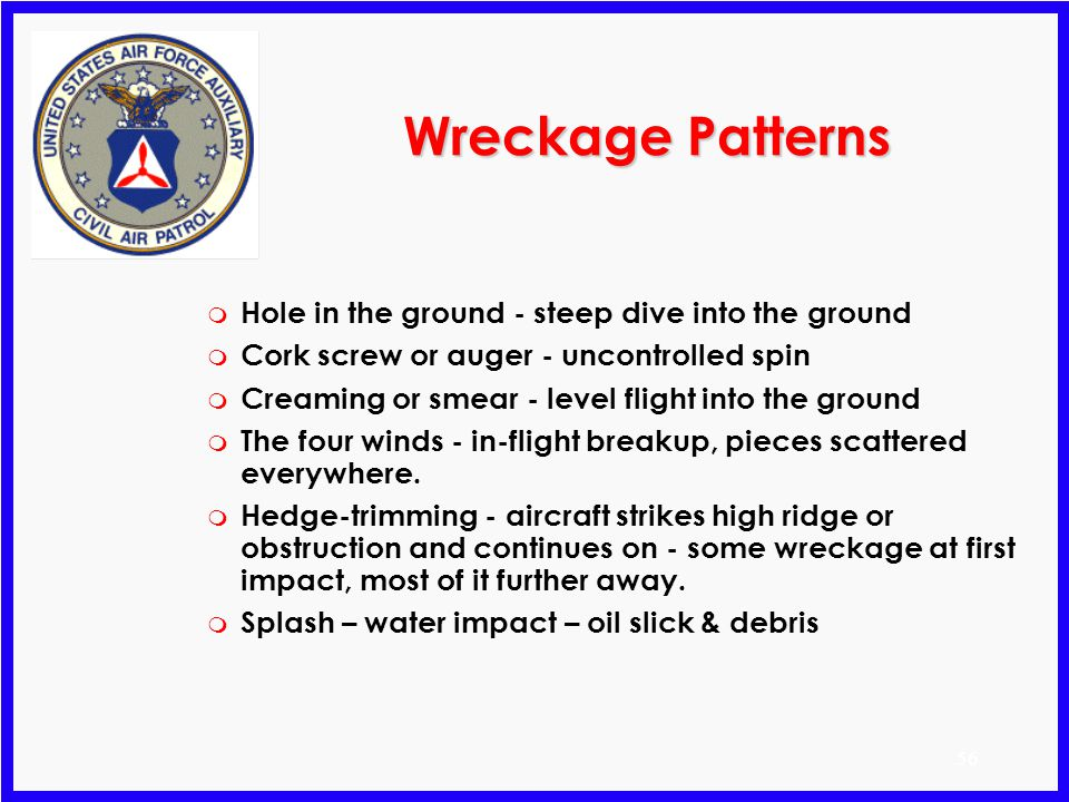 Wreckage Patterns Hole in the ground - steep dive into the ground