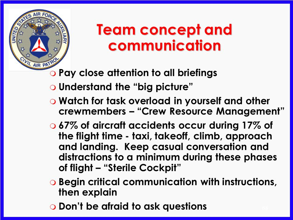 Team concept and communication