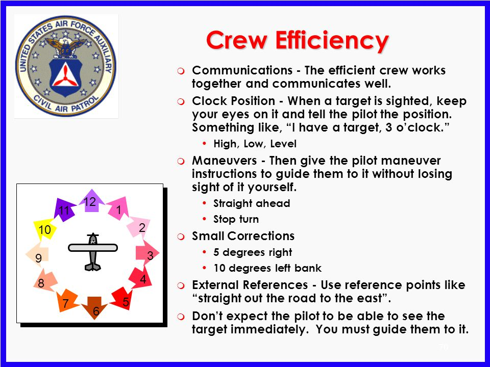 Crew Efficiency Communications - The efficient crew works together and communicates well.