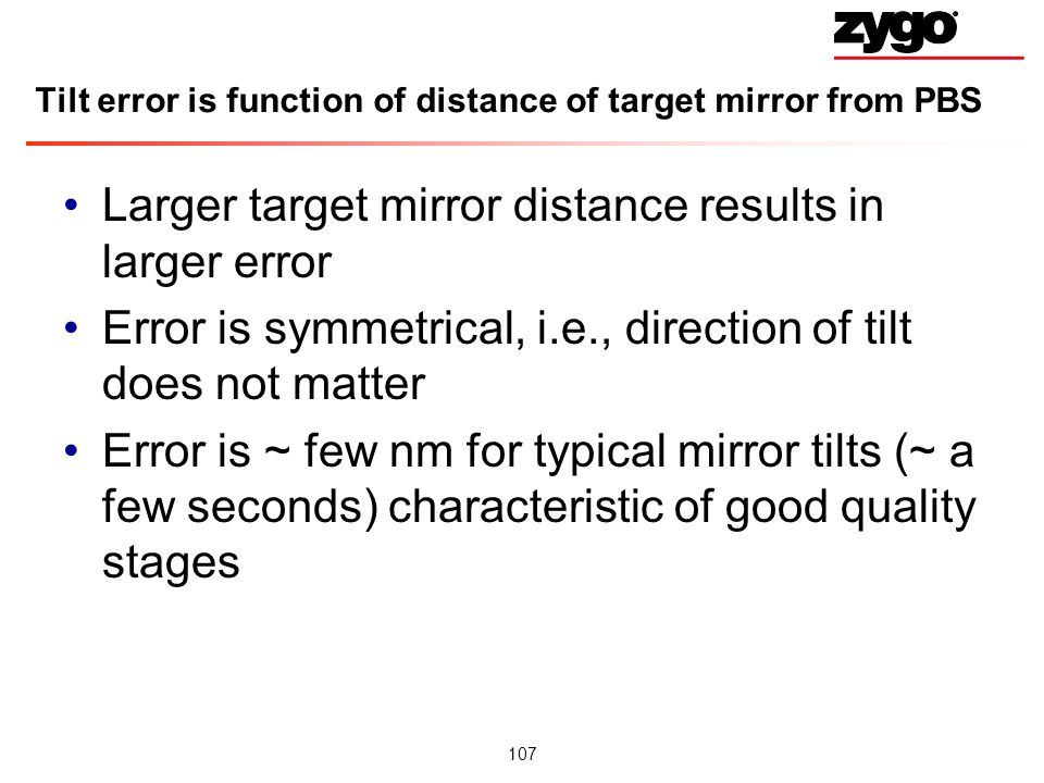 Tilt error is function of distance of target mirror from PBS