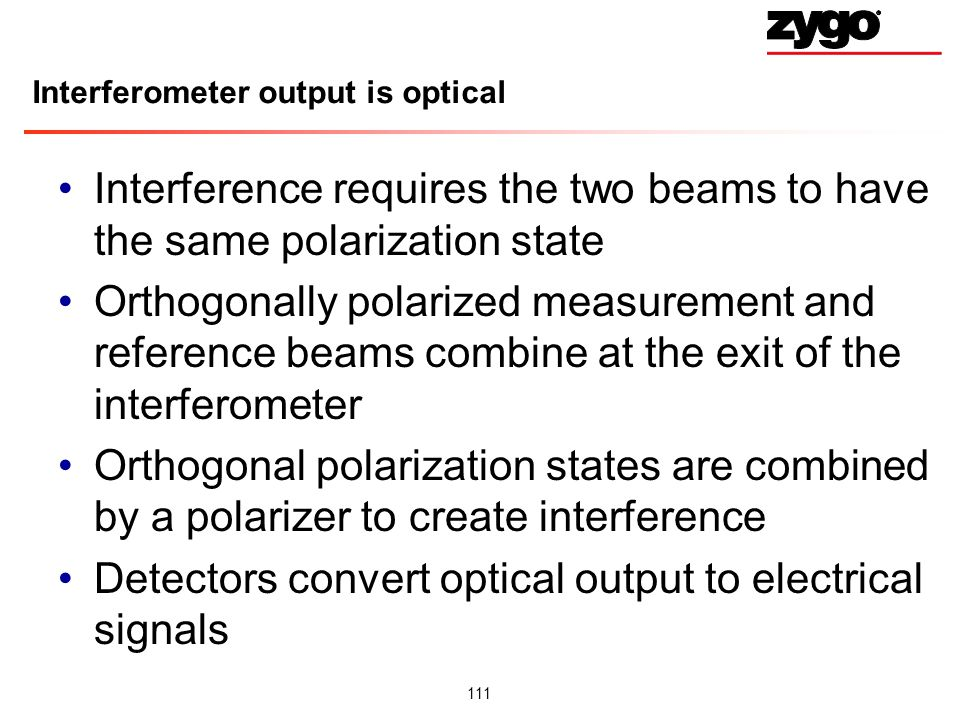 Interferometer output is optical