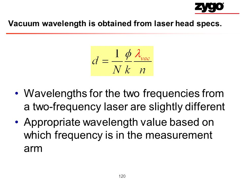 Vacuum wavelength is obtained from laser head specs.