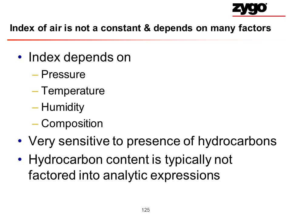 Index of air is not a constant & depends on many factors