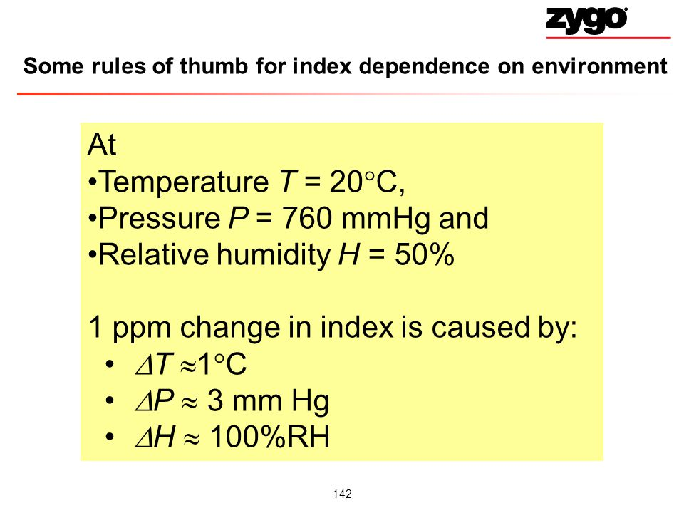 Some rules of thumb for index dependence on environment