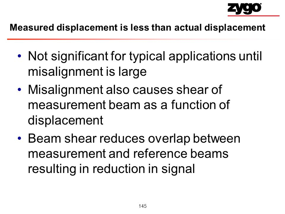 Measured displacement is less than actual displacement