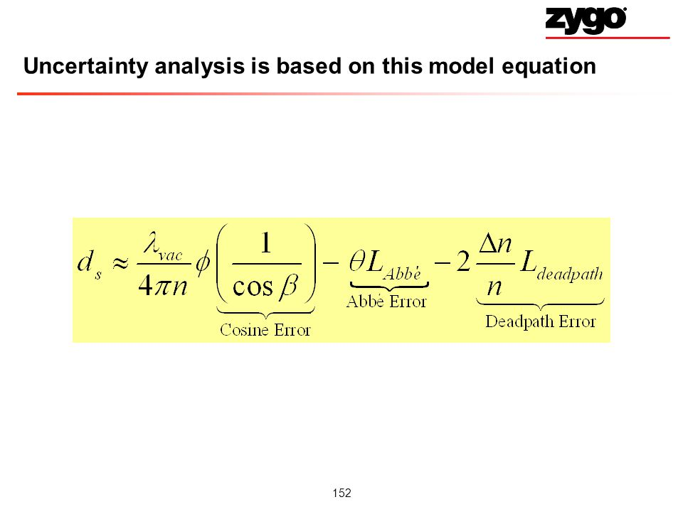 Uncertainty analysis is based on this model equation