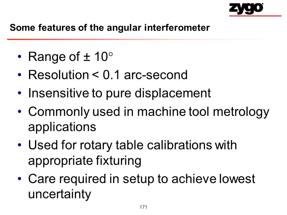 Some features of the angular interferometer