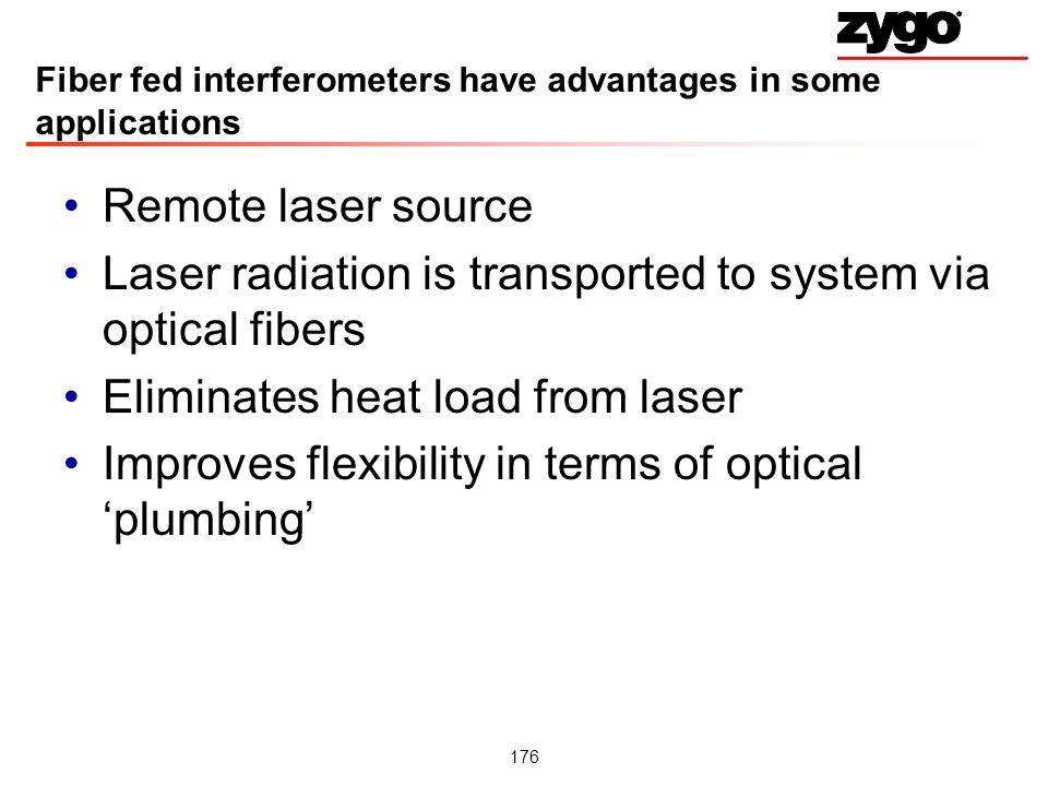 Fiber fed interferometers have advantages in some applications