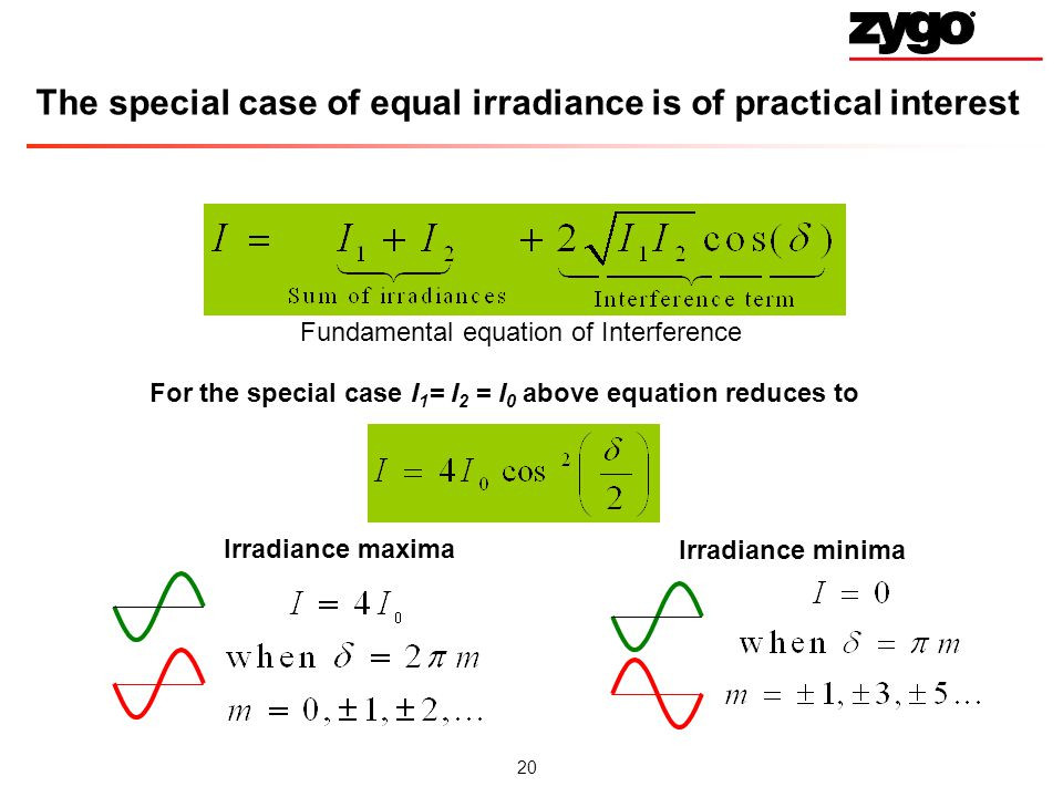 The special case of equal irradiance is of practical interest