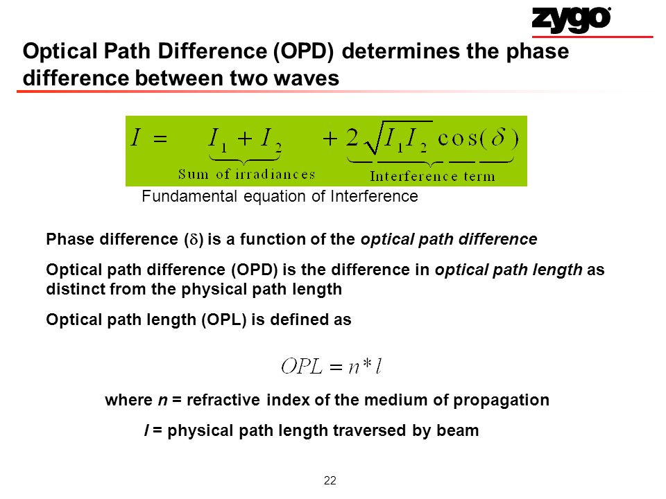 Optical Path Difference (OPD) determines the phase difference between two waves