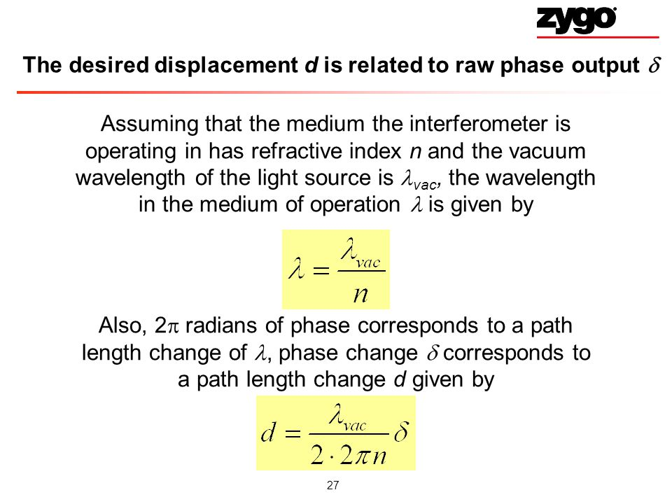 The desired displacement d is related to raw phase output 