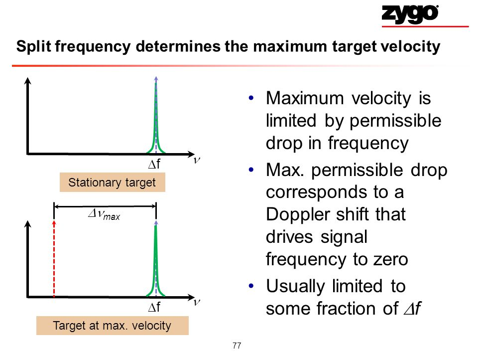 Split frequency determines the maximum target velocity