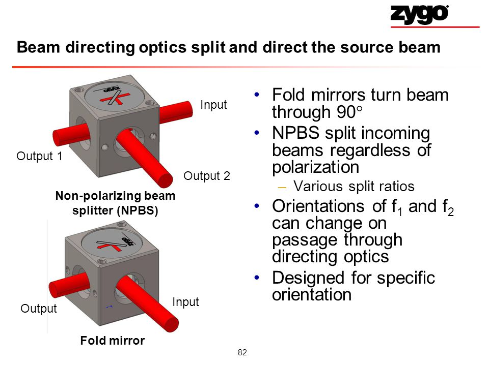 Beam directing optics split and direct the source beam