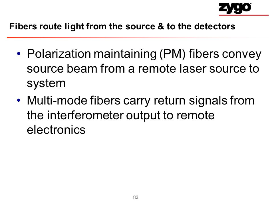 Fibers route light from the source & to the detectors