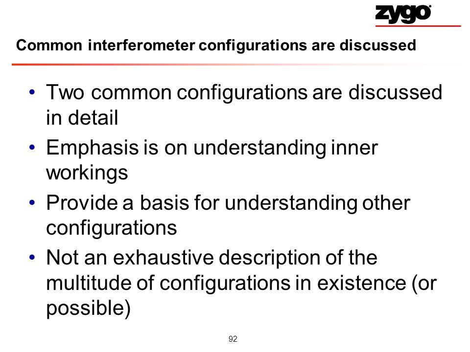 Common interferometer configurations are discussed