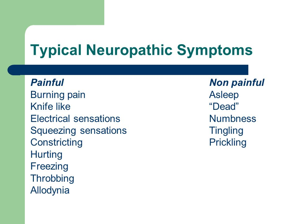 Typical Neuropathic Symptoms