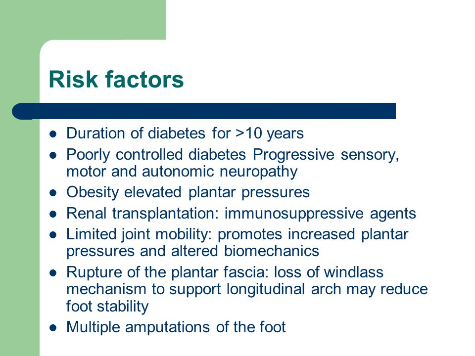 Risk factors Duration of diabetes for >10 years
