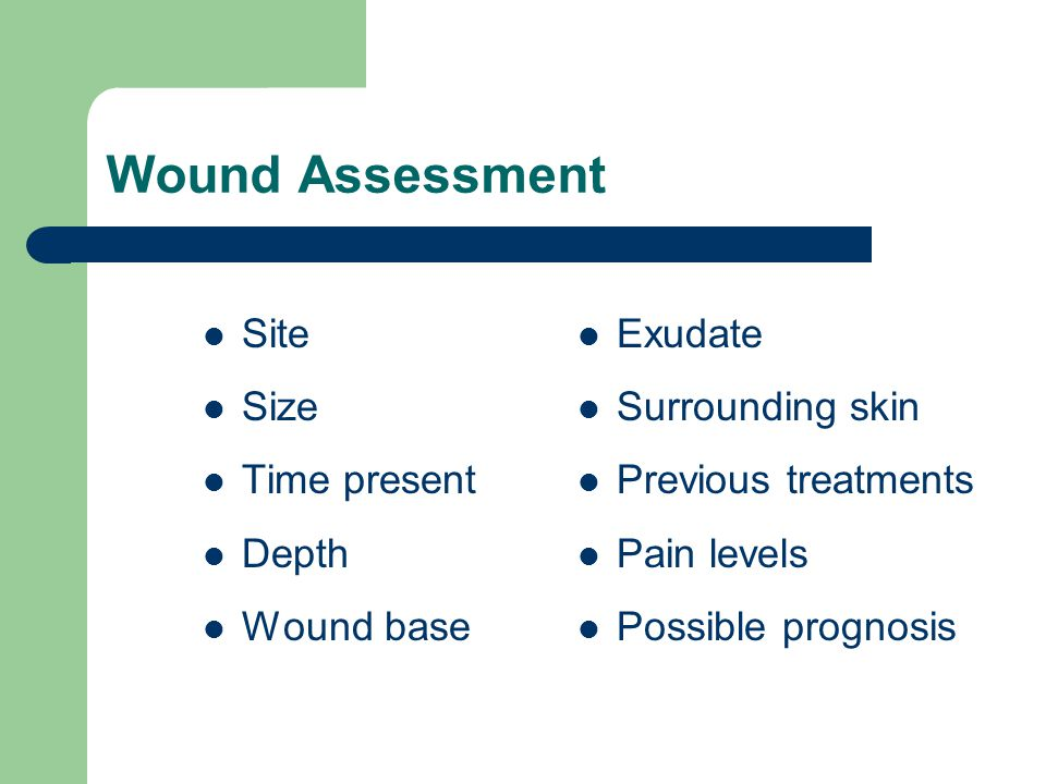 Wound Assessment Site Size Time present Depth Wound base Exudate