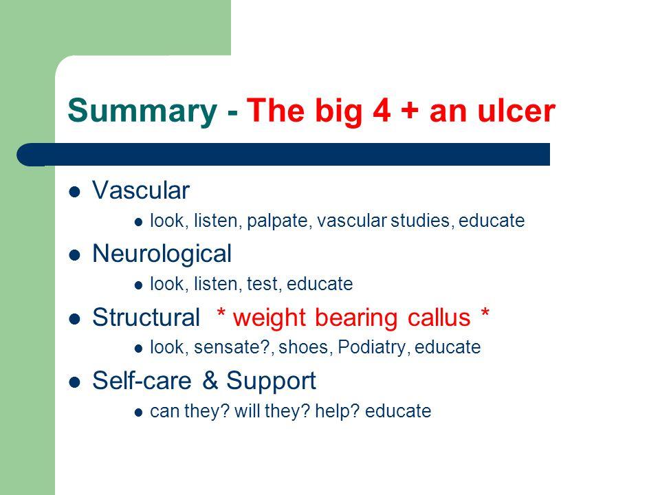 Summary - The big 4 + an ulcer