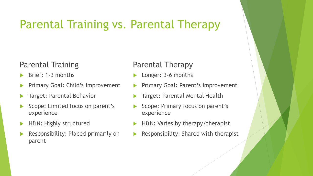 Parental Training vs. Parental Therapy